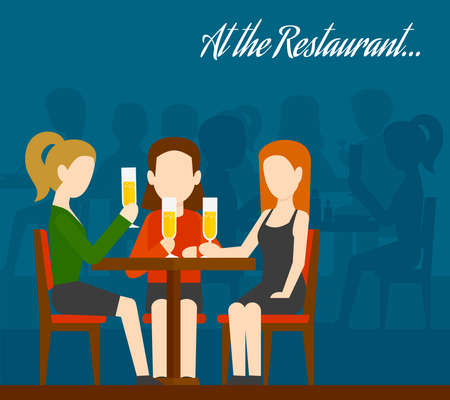 Three young girls sitting at table drinking champagne with people silhouettes on background friends meeting in restaurant flat vector illustration