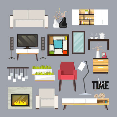 Living room furniture decorative icons set with sofa bookshelf tv table isolated vector illustration