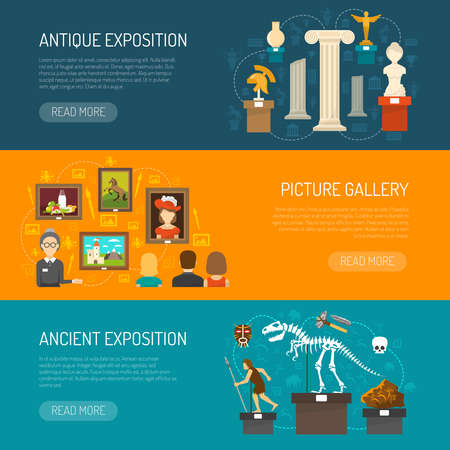Museum horizontal banner set with exhibits of archaeological finds and antique expositions and picture gallery flat vector illustration