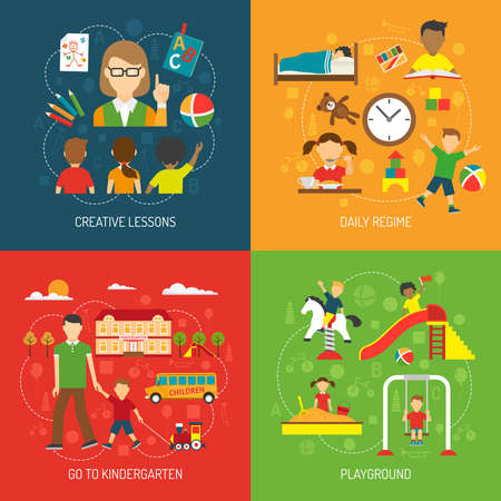 Creative lessons daily regime go to kindergarten and playground 2x2 concept flat vector illustration
