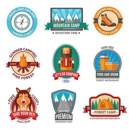 Hiking emblem set with flat mountain camp symbols isolated vector illustration