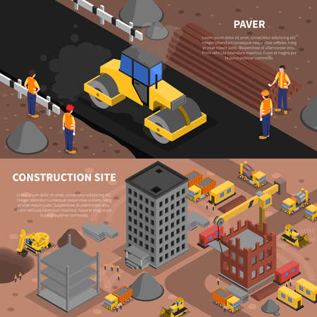 Construction isometric horizontal banners set with construction site symbols isolated vector illustration