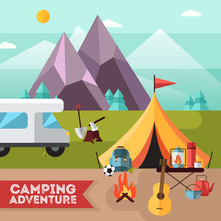 Camping and hiking adventure flat poster with tent guitar and snowy mountains peaks background abstract vector illustration Ilustração