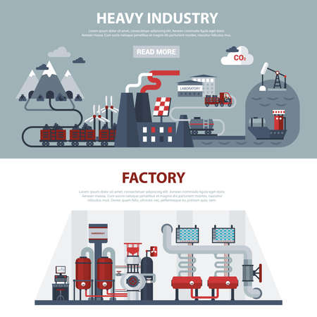 Energy and industry banners with scenes of power at factories and in large manufactures isolated vector illustration