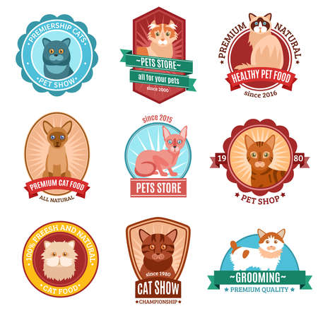 Cats emblem set with pet shop and veterinary clinic symbols isolated vector illustration