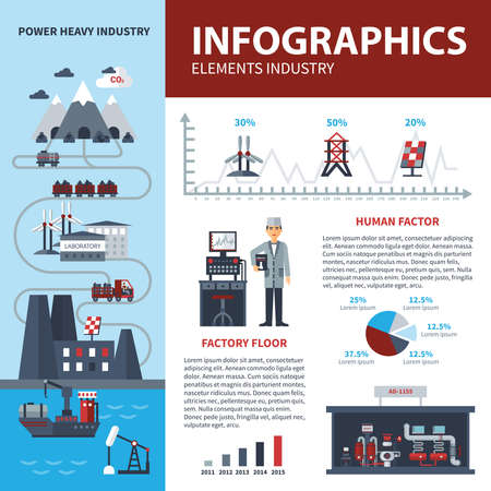 Energy and industry infographics with statistics about use of powers vector illustration