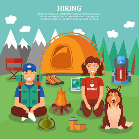 Hiking concept with people and dog sitting in front of campfire and mountains on background vector illustration
