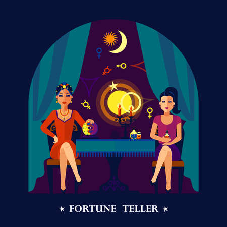 Beautiful young woman crystal ball fortune teller sitting with client dark colorful poster print abstract vector illustration