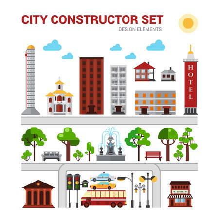 City constructor set with houses parks and urban infrastructure isolated vector illustration