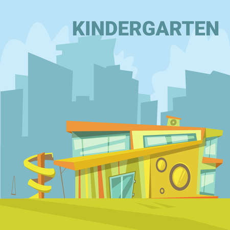 Kindergarten modern building background in a city with a slide for children cartoon vector illustration Ilustração