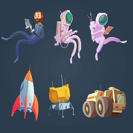Outer space cartoon set with spaceship and astronautics symbols isolated vector illustration