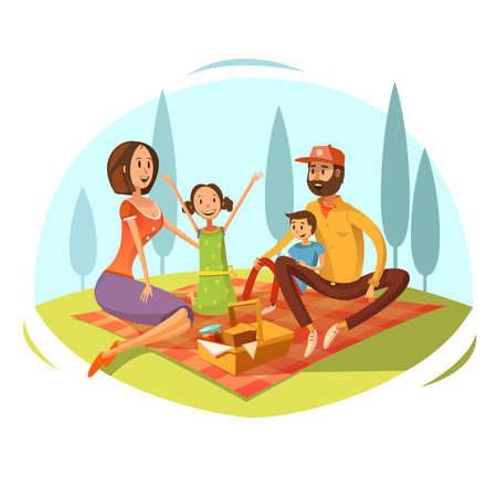 Family having picnic on the grass concept with bread and jam cartoon vector illustration Ilustração