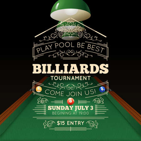 Billiards tournament realistic poster with price time and date vector illustration