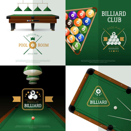 Billiards realistic concept icons set with club and pool room symbols isolated vector illustration