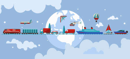 Transport concept with water air ground vehicles in line with earth on background vector illustration