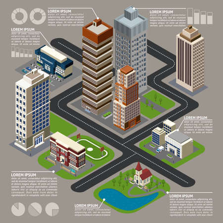 Isometric city infographics with  buildings street skyscrapers connected by dotted lines with charts and graphs vector illustration Ilustração