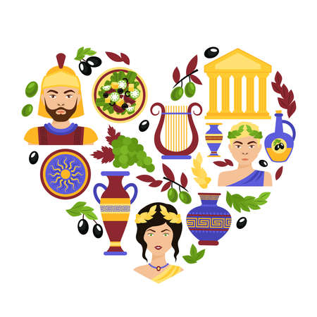 Greece history classical antique culture architecture and decoration symbols in heart shape vector illustration