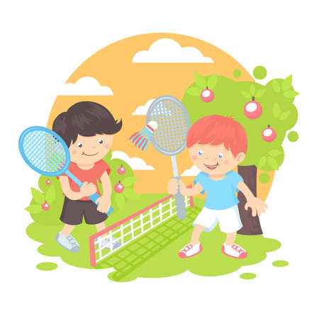 Boys kids with sport racquets playing badminton on the lawn outdoors background vector illustration Ilustração