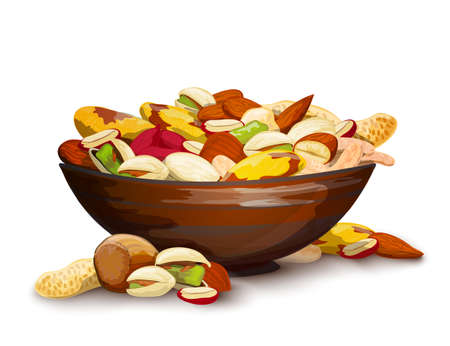 Cup with nuts fresh raw food mix composition vector illustration