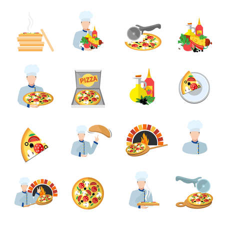 Fast food pizza maker perfect service fresh ingredients flat icons set isolated vector illustration