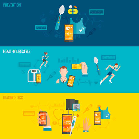 Digital health horizontal banner set with prevention diagnostics healthy lifestyle elements isolated vector illustration