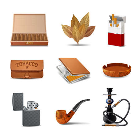 Tobacco decorative realistic icon set with cigars cigarette pack ash tray isolated vector illustration