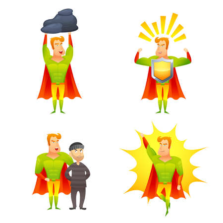 Favorite fictional children superhero cartoon character with protective shield radiating power icons set abstract isolated vector illustration