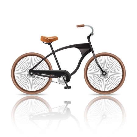 Realistic bicycle retro travel bike isolated on white background vector illustration