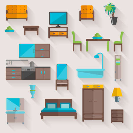 Home furniture and appliances pictograms set of living room salon table with chairs flat abstract vector illustration