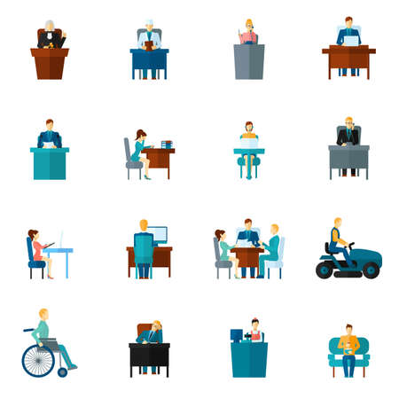 Sedentary life inactive lifestyle passive living icons flat set isolated vector illustration 向量圖像