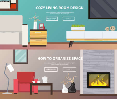 Living room interior design and furniture horizontal banner set isolated vector illustration