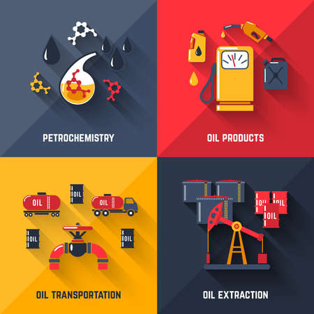 Petroleum design concept set with petrochemistry oil products transportation and extraction flat icons isolated vector illustration