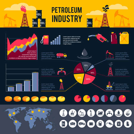 Petroleum industry infographics set with gasoline processing symbols and charts vector illustration