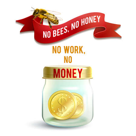 Realistic glass jar with money and honey bee work concept vector illustration Иллюстрация