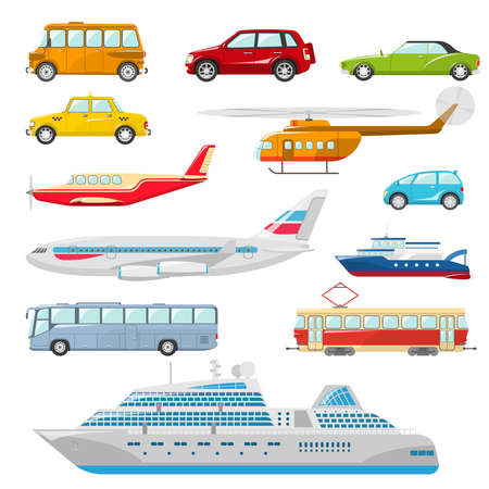 Transport icons flat set with taxi bus helicopter tram ship isolated vector illustration