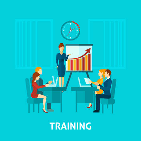 Business training flat icon with businessmen in office and speaker making presentation vector illustration