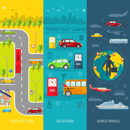 Transport flat vertical banner set with gas station and world travels elements isolated vector illustration