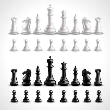 Realistic chess game black and white figures set isolated vector illustration Vettoriali