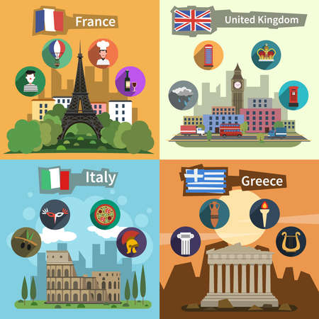 Historical landmarks sightseeing tours to greece france england and italy flat icons composition poster abstract vector illustration Vector Illustration