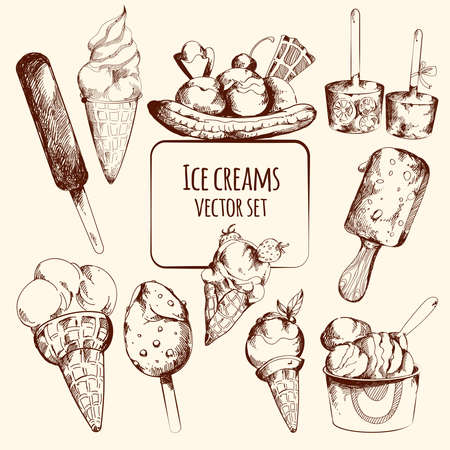 Ice cream sweet cold dessert sketch set isolated vector illustration