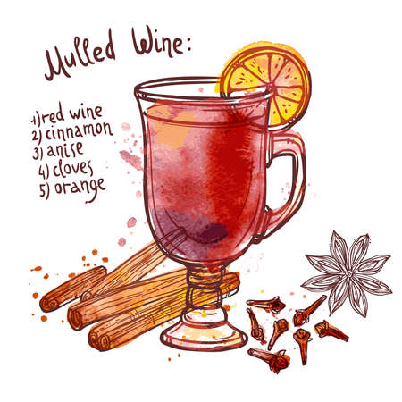 Mulled wine set with glass of drink and hand drawn ingredients vector illustration