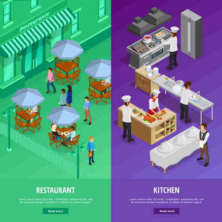 Restaurant vertical isometric banners set with kitchen symbols isolated vector illustration