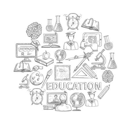 Education concept sketch with school and university study icons vector illustration Vecteurs