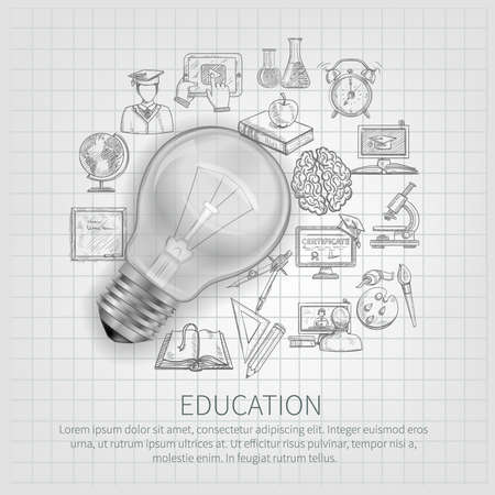 Education concept with learning sketch icons and realistic lightbulb vector illustration Vecteurs