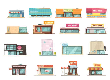 Shop building cartoon set with mini store symbols isolated vector illustration
