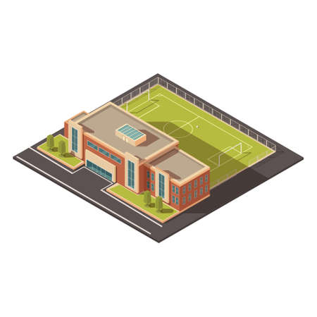 Government education or sports institution building concept with football field isometric vector illustration