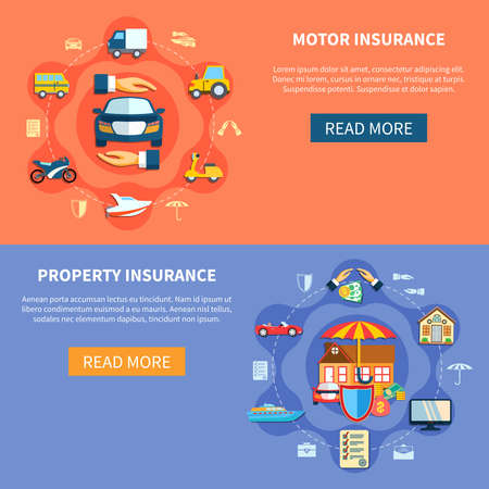 Vehicle and house insurance horizontal banners transport and property elements in flat style vector illustration  イラスト・ベクター素材