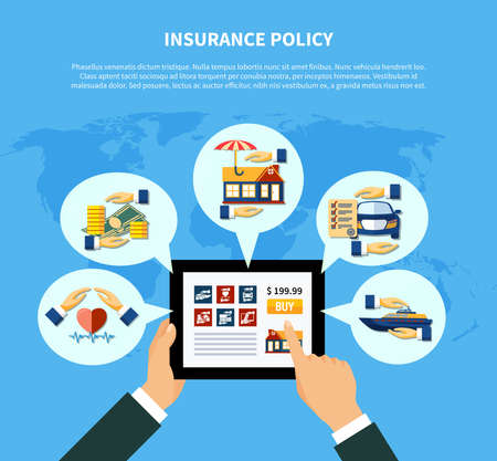 Insurance policy services concept with hands holding tablet and health money property car boat protection vector illustration