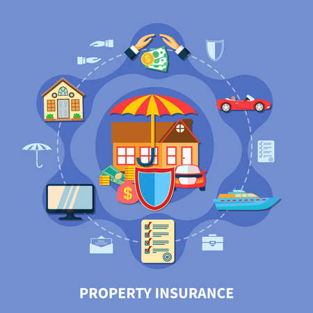Property protection flat concept with transport house money insurance from crime disaster accident isolated vector illustration  イラスト・ベクター素材