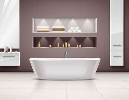 Luxurious bathroom interior realstic design with white bath and accessories vector illustration